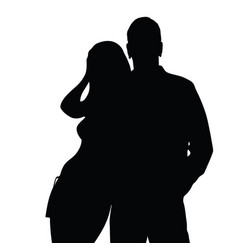 Couple silhouette love in black color vector