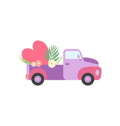 Cute colorful truck with heart and flowers vector