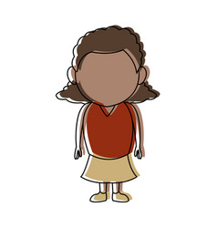 Cute little girl child standing cartoon vector