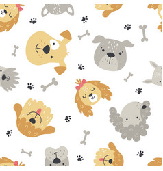 Cute puppy seamless pattern on white background vector