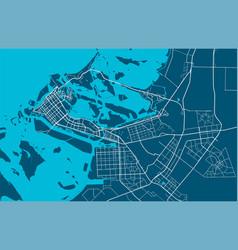 Detailed map abu dhabi city linear print map vector