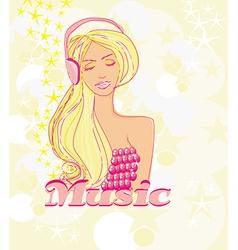 disco girl with headphones on her head - poster vector image