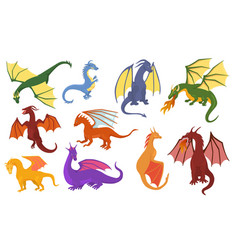 dragon cartoon cute dragonfly dino vector image
