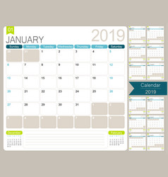 English calendar 2019 vector
