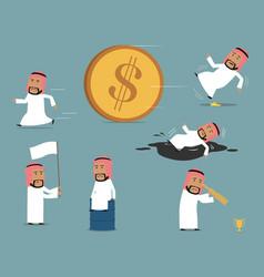 Failed bankrupt arab businessman character set vector