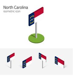 Flag north carolina usa 3d isometric icon vector