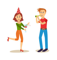 flat girl and boy at friends party vector image
