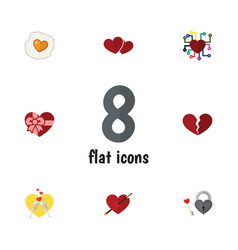 Flat icon amour set divorce scrambled key and vector
