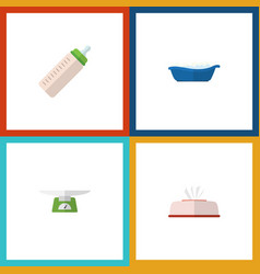 flat icon infant set of bathtub feeder tissue vector image