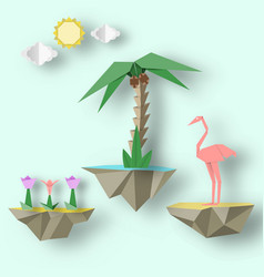 Flying islands on which there are flamingo vector