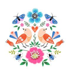 folk style birds art print vector image