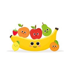 Funny fruits and banana vector