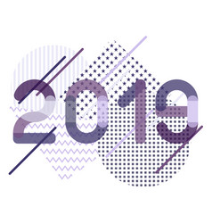 geometrical abstract for 2019 new year in violet vector image