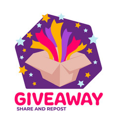 giveaway share and repost social media marketing vector image
