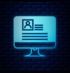 Glowing neon computer monitor with resume icon vector
