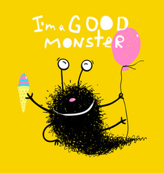 Good monster with balloons and ice cream vector