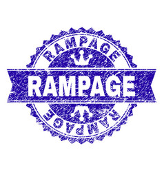 Grunge textured rampage stamp seal with ribbon vector