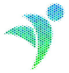 Halftone blue-green winged man icon vector