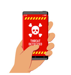 Hand holding smartphone with malware threat vector