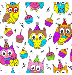 Happy birthday seamless pattern with funny owls vector