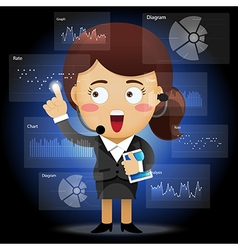 Happy business woman working with data processing vector image