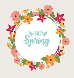 happy spring round banner flowers frame decoration vector image