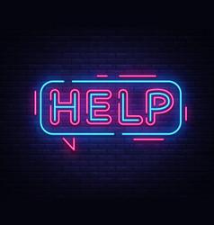 Help neon sign design template neon vector