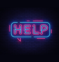 help neon sign help design template neon vector image