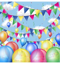Holiday background with balloons and flags vector image vector image