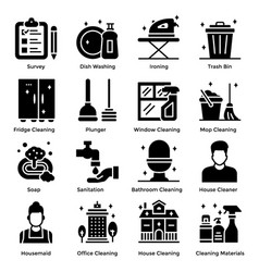 House cleaning solid icons pack vector