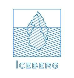 Iceberg in linear style Outline iceberg vector