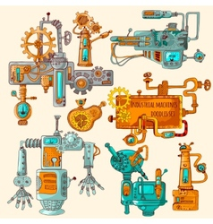 Industrial Machines Doodles Colored vector