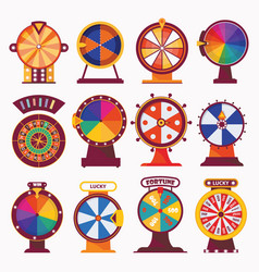 isolated on white wheel fortune flat set vector image