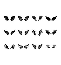 isolated wings glyph icon set vector image
