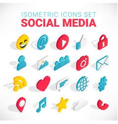 isometric social media icons set vector image