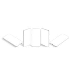 isometric white smartphone mockup mobile app vector image