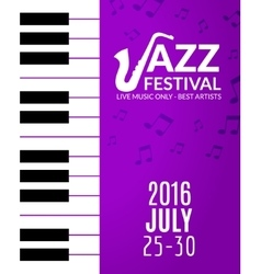 Jazz festival poster with a saxophone Musical vector image