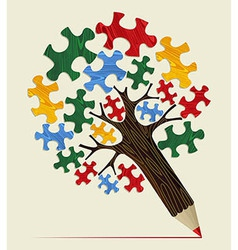 Jigsaw strategic concept pencil tree vector