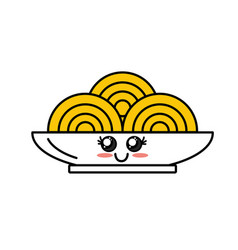 Kawaii cute happy plate with spaguetti inside vector
