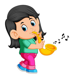 little girl playing saxophone vector image