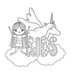 little girl with unicorn characters vector image
