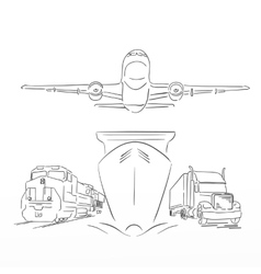 logistics sign with plane truck container ship vector image