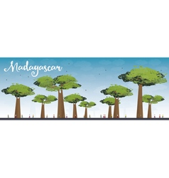 Madagascar skyline silhouette with baobabs vector