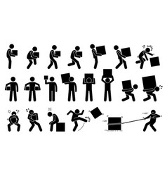 Man carrying heavy box pictogram man carrying and vector