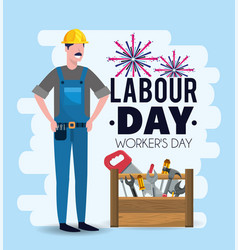 Man mechanic with equipment to labour day vector