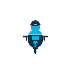 man with drill icon colored symbol premium vector image