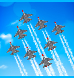 military airplanes condensation trail vector image