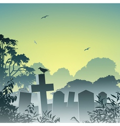 Misty graveyard vector