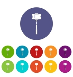 Mobile phone on a selfie stick set icons vector image