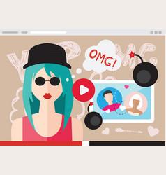 Modern girl records video vector